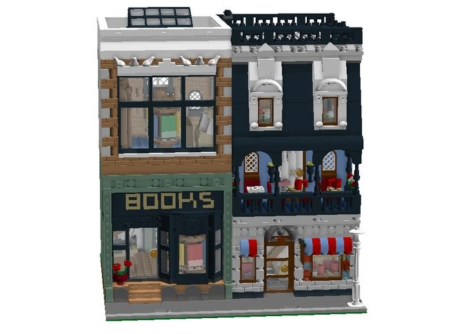 LEGO Ideas - Modular Coffee Shop and Bookstore. Click to vote for this set -- if it receives 10,000 supporters, it could be made into an actual LEGO set! I would totally buy it!