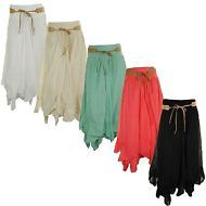 Womens Cotton Belted Gypsy Tiered Asymmetric Hitched Hem Ladies Long Maxi Skirt