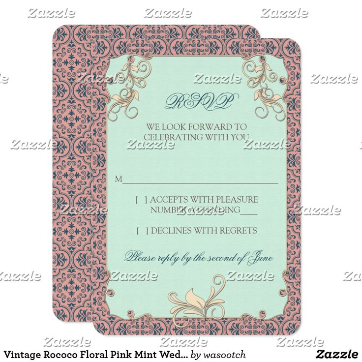 Vintage Rococo Floral Pink Mint Wedding RSVP Reply Card