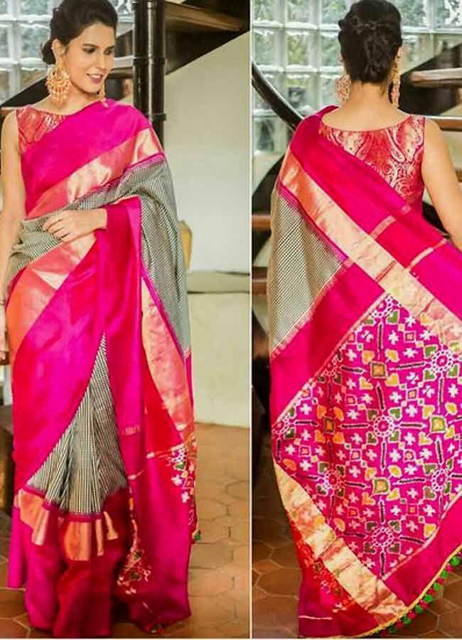 c8288a8365 Checks Ikkat Wonderful Silk Saree Body Colour: :Black & White Checks Pallu  Colour :Pinc Blouse Colour :Same As Blouse Washing Care :Only Dry Wash