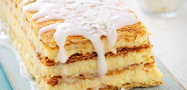 Custard slice with lemon and coconut icing recipe