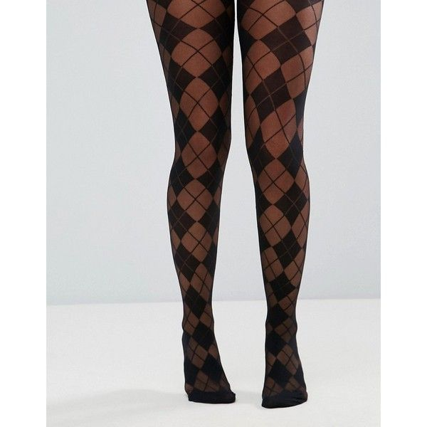 ASOS Argyle Tights ($4.86) ❤ liked on Polyvore featuring intimates, hosiery, tights, black, argyle tights, high waisted tights, argyle stockings, semi sheer tights and high rise tights