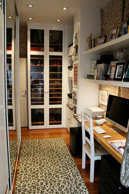 Home office in the closet to maximize space in a small condo in Brazil- brilliant.