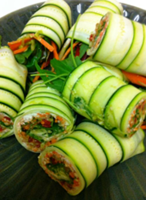 I like the idea of slicing cucumbers and making cucumber wrap/rolls.....Crab and avocado filling