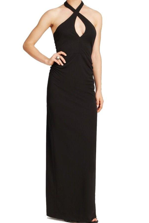 Nicole Miller Black Halter Keyhole Elegant Evening Gown Dress ...