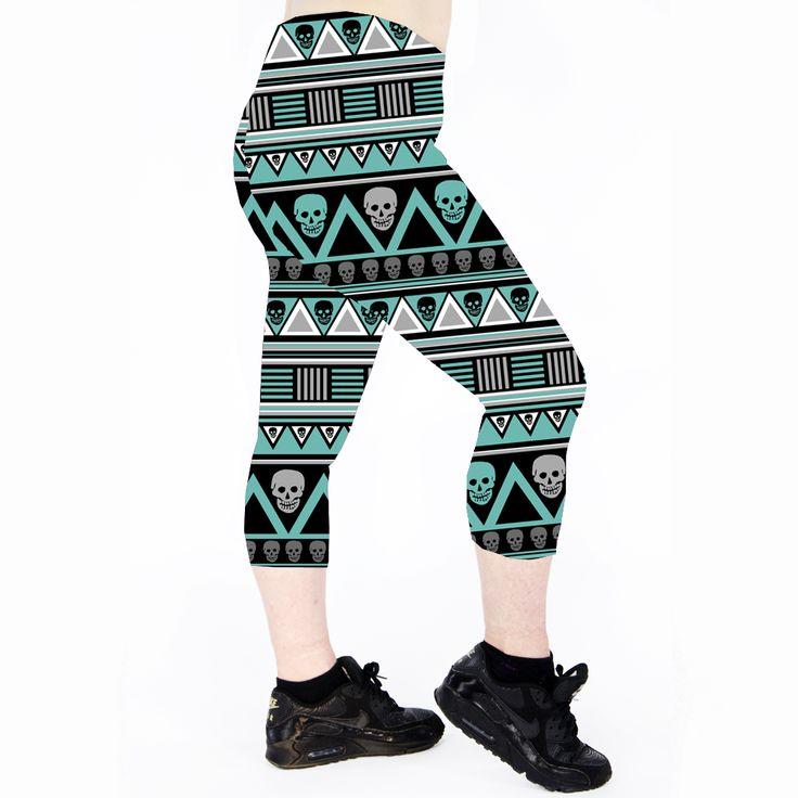 TEAL AZTEC SKULL Teal Aztec Skull Capri Leggings are made from 100% polyester… Running Leggings. Cycle Leggings Cycling Leggings. Roller Derby Leggings. Exercise Leggings. Workout Leggings. Dance Leggings. Gym Leggings. Fitness Leggings. Yoga Leggings. Pole Dance Leggings. Pole Leggings. Pilates Leggings. Skull leggings. Aztec Leggings.