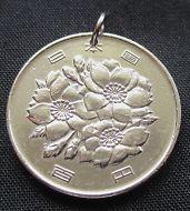 1968 Japan Coin Pendant, 100 Yen Showa Era Orchid Blossom