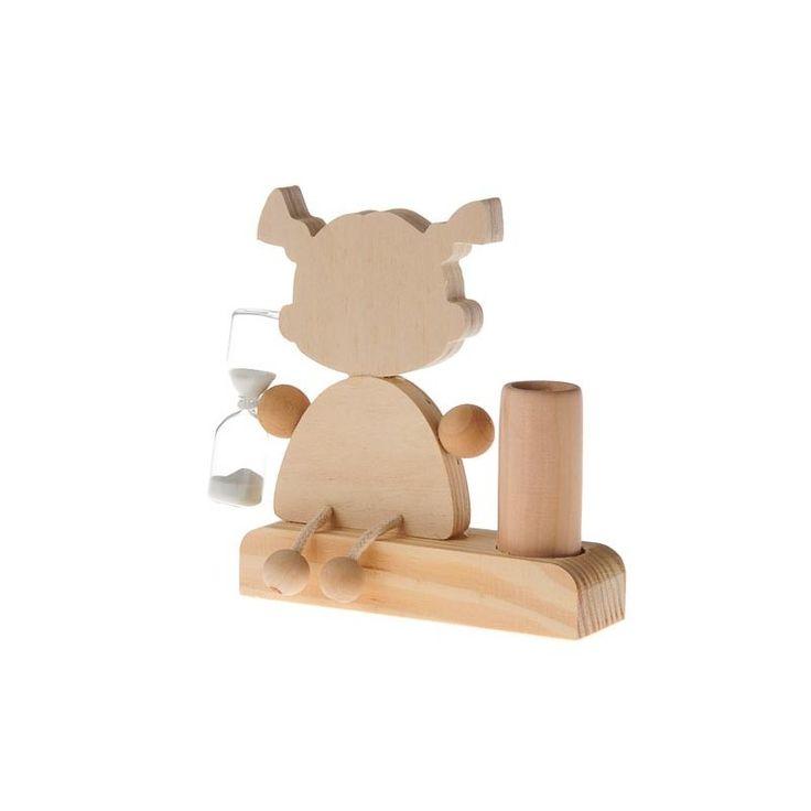 Portaspazzolino da denti di legno - Bambina ca. 9,5 x 3 x 10,5 cm, con clessidra, naturale, senza decorazione. 1 pezzo E' preferibile dipingere il portaspazzolino all'interno con una lacca per renderlo resistente all'acqua.