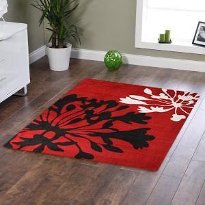 Agapanthus+Bud+Print+Rug+Red+Black+220x150cm