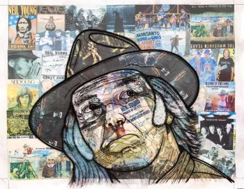 This is a multi-layered portrait of the famous Canadian musician, Neil Young. The background is comprised of many cut ou...