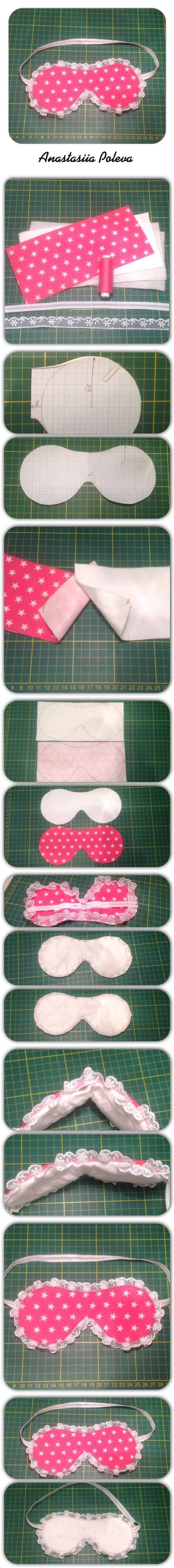 DIY Sleeping Mask- sleeping in a strange place, this could come in handy. The design possibilities are endless