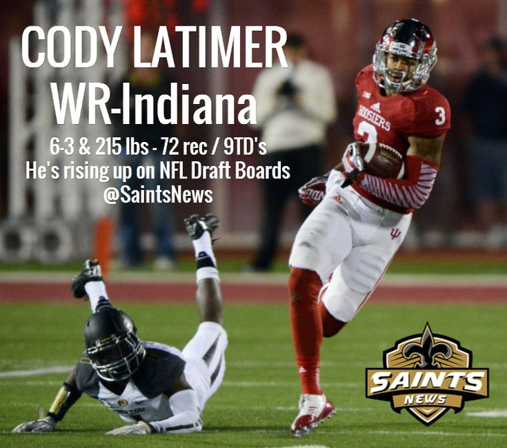 CODY LATIMER WR-Indiana / 6-3 & 215 lbs - 72 rec / 9TD's He's rising up on NFL Draft Boards @Saints News
