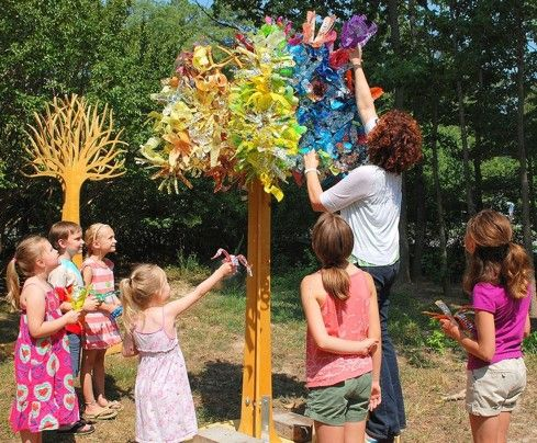 Trees made from sparkly painted recycled plastic bottles