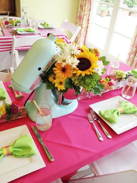 flower arrangements in kitchen appliances for a kitchen-themed bridal shower