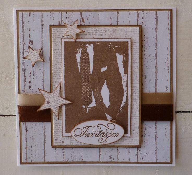 Invitation for a boy. DT card by Iren S. Mikalsen. Everything is from Kort og Godt
