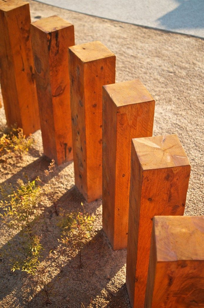 Landscape Design - 300 x 300mm timber bollards define the social spaces in the…
