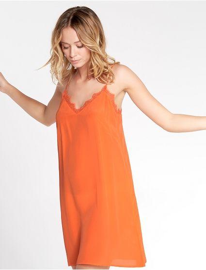 Nuisette courte en soie Orange sanguine - Flirt