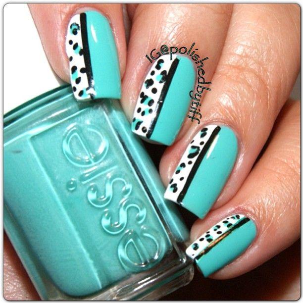 half half bright aqua blue leopard print nail art. Black Bedroom Furniture Sets. Home Design Ideas