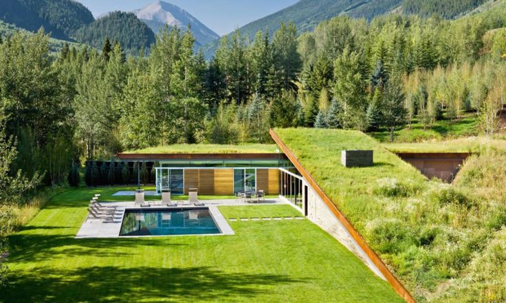 Gluck+ designed a beautiful green-roofed guesthouse in Colorado that's powered by solar energy.