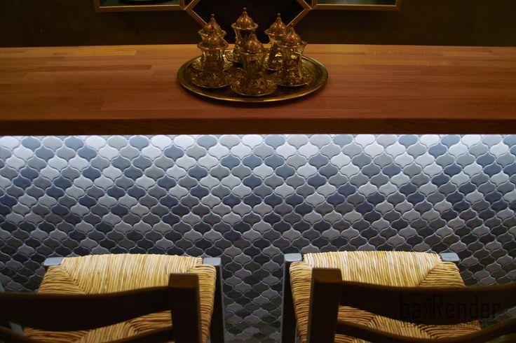 Bar counter detail - Top: Full body oak counter, Front: Arabesque ceramic tile mosaic - Barbalexis Oriental Restaurant in Piraeus