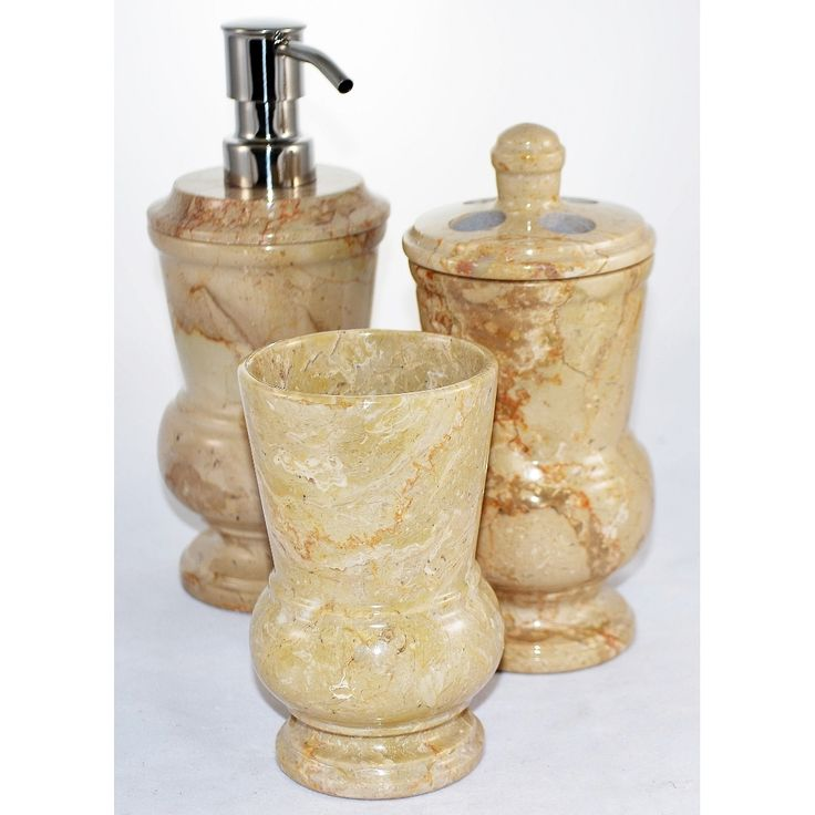 Home Decor Sahara Marble 3 Piece Bathroom Accessory Set Of Mediterranean  Collection.