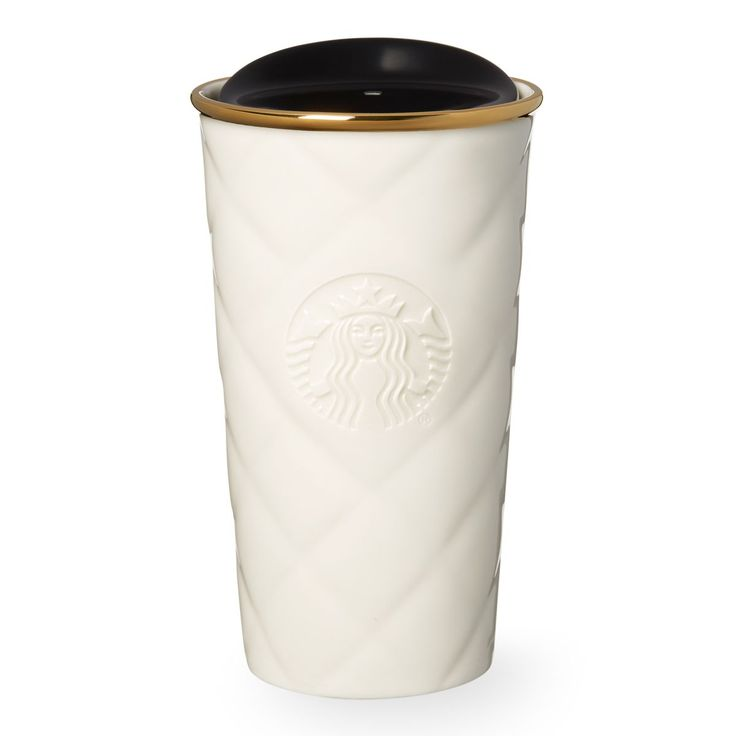 A Double Walled Ceramic Travel Mug With A Smooth Quilted