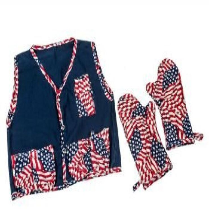 BBQ Apron with 2 Mitts - Flag Theme  Descriptions: Full apron with large double pocket for barbequing/Includes Mitts for carrying hot food.   Features: Navy Apron w/Flag trim and pocket/ includes Flag Theme Mitt Ties at waist/Handy clip on Apron for attaching Mitt Polyester/Washable Made in USA 1 Year against Factory Defects