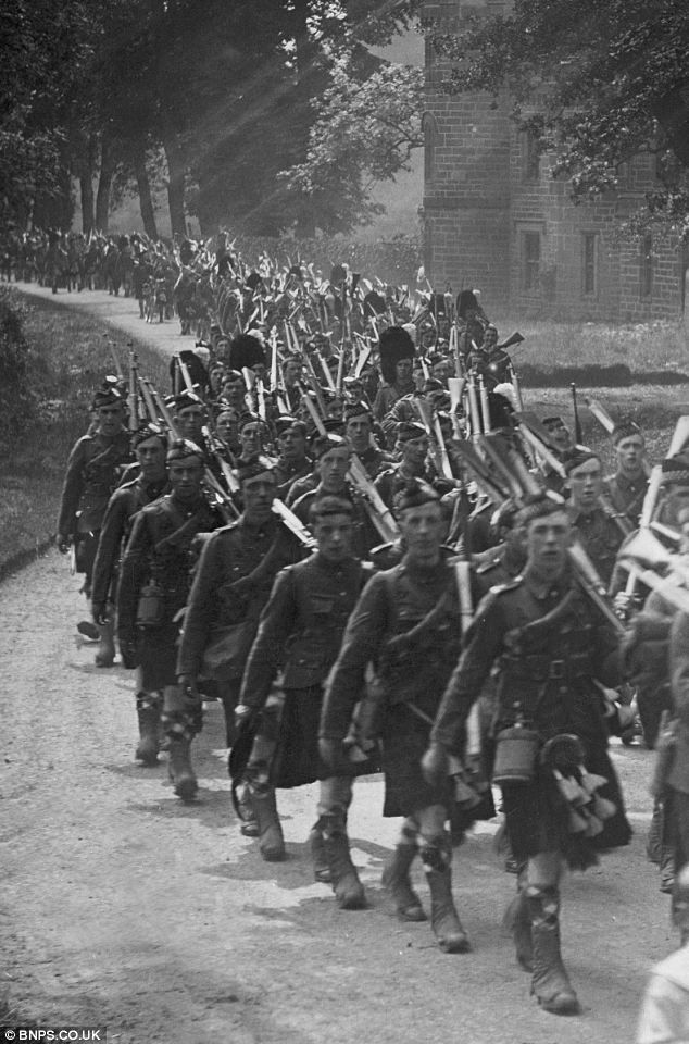A column of Argyll and Sutherland Highlanders wends it's way through the Scottish countryside during training in WWI