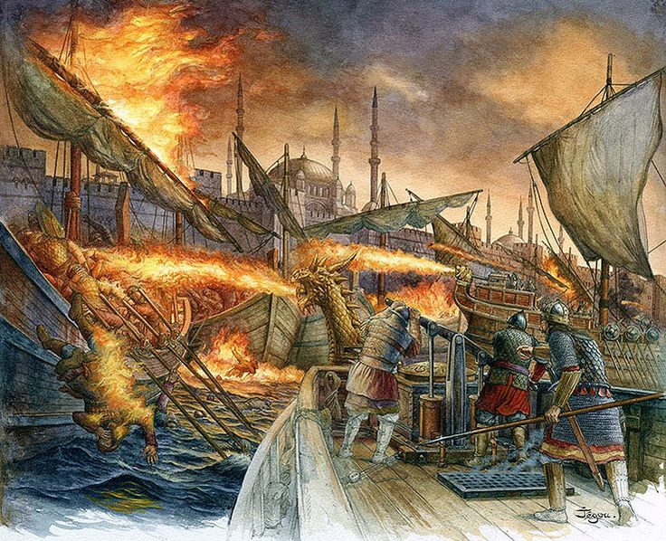 Greek Fire outside the walls of Constantinople