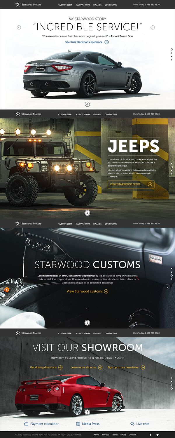 Cool Automotive Web Design. Starwood Motor. #automotive #webdesign [http://www.pinterest.com/alfredchong/]
