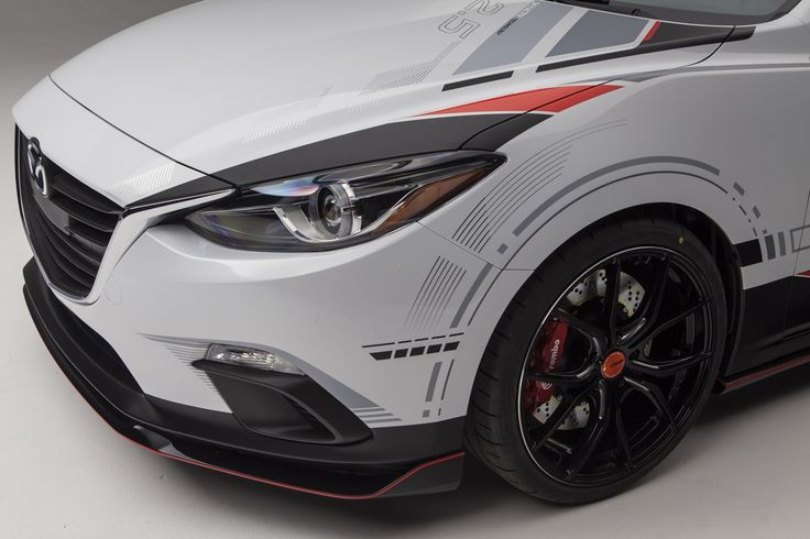 2013 Mazda Club Sport 3 Concept. Limited-slip differential, 6-speed manual gearbox, coil-over suspension, performance exhaust, Brembo brakes, aero body kit, custom paint job & 19-inch, V-spoke Rays wheels.