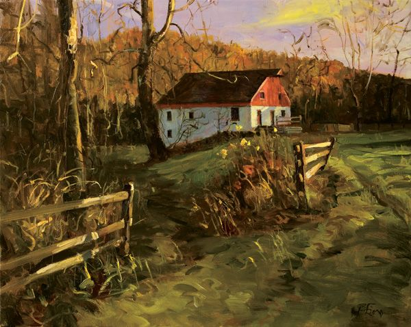 From landscape artist Peter Fiore: Barn at Bowman's 2006, oil on linen, 24 x 30. Private collection.