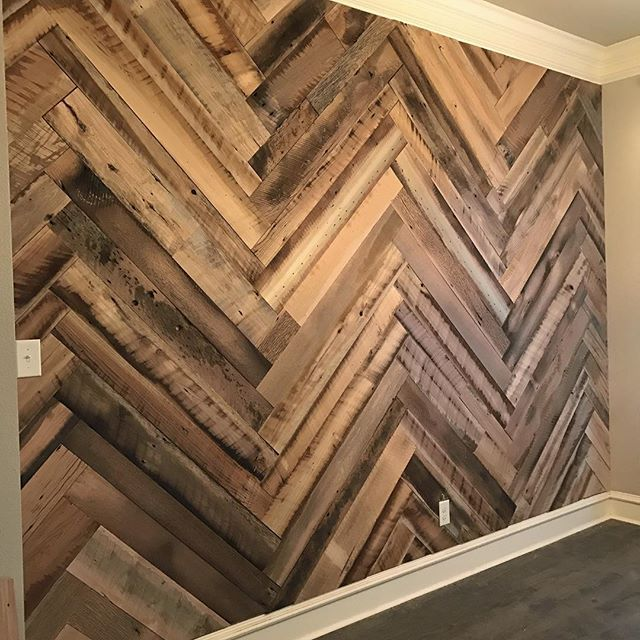 Reclaimed wood Herringbone wall treatment! Face planed barn wood from Reclaimed Design Works.