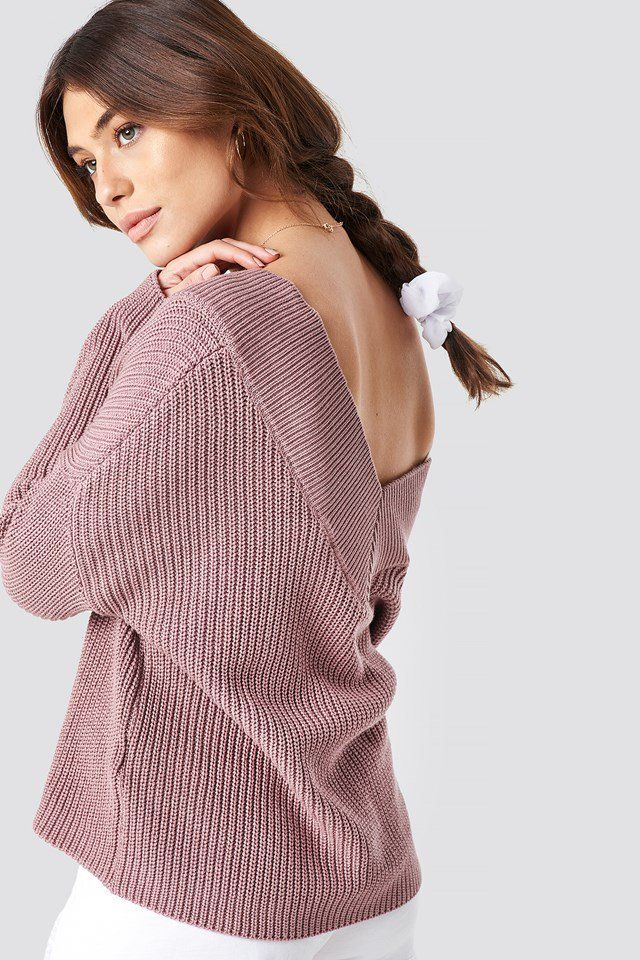V Neck Knitted Sweater In 2020 Pullover Stricken Altrosa Und Outfit