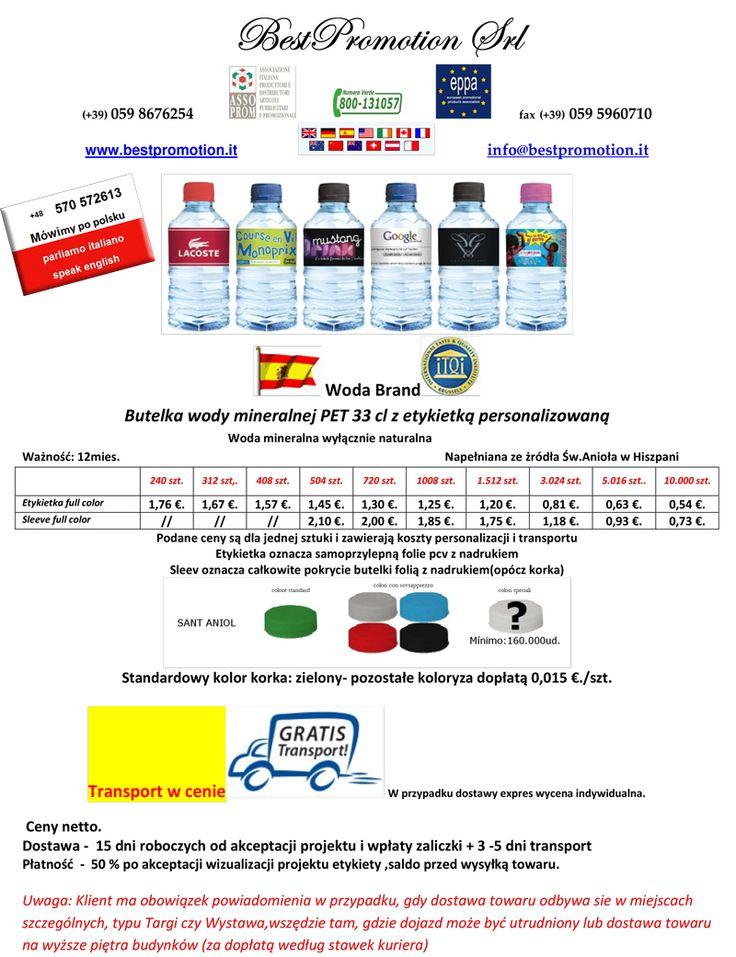 Butelka wody mineralnej PET 33 cl z etykietką personalizowaną | Woda Reklamowa