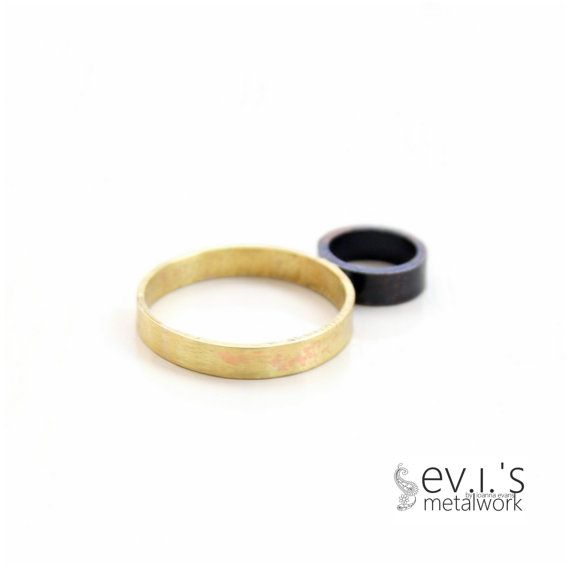 Brass Copper Round Disc Custom Ring Hand Cut Wide by evismetalwork, €18.00