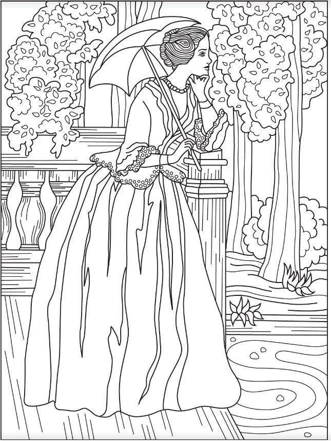 Victorian Woman Coloring Page Colorish Free Coloring App For