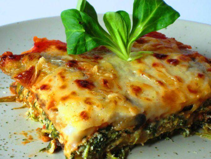 Lasaña de espinaca y queso ricotta