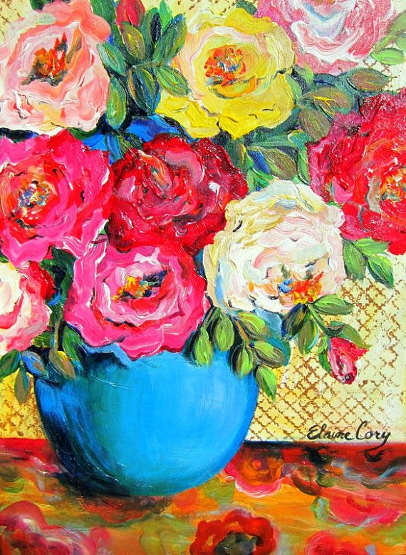 A Teal Vase  is an original painting done by me Elaine Cory. It is on a gallery wrapped canvas 18 x 24 x 1 1/2. The sides are painted like the