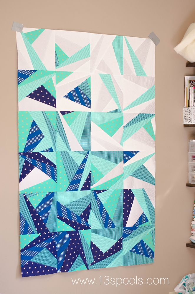 Baby quilt version of icy waters. Super cute modern ombre quilt.