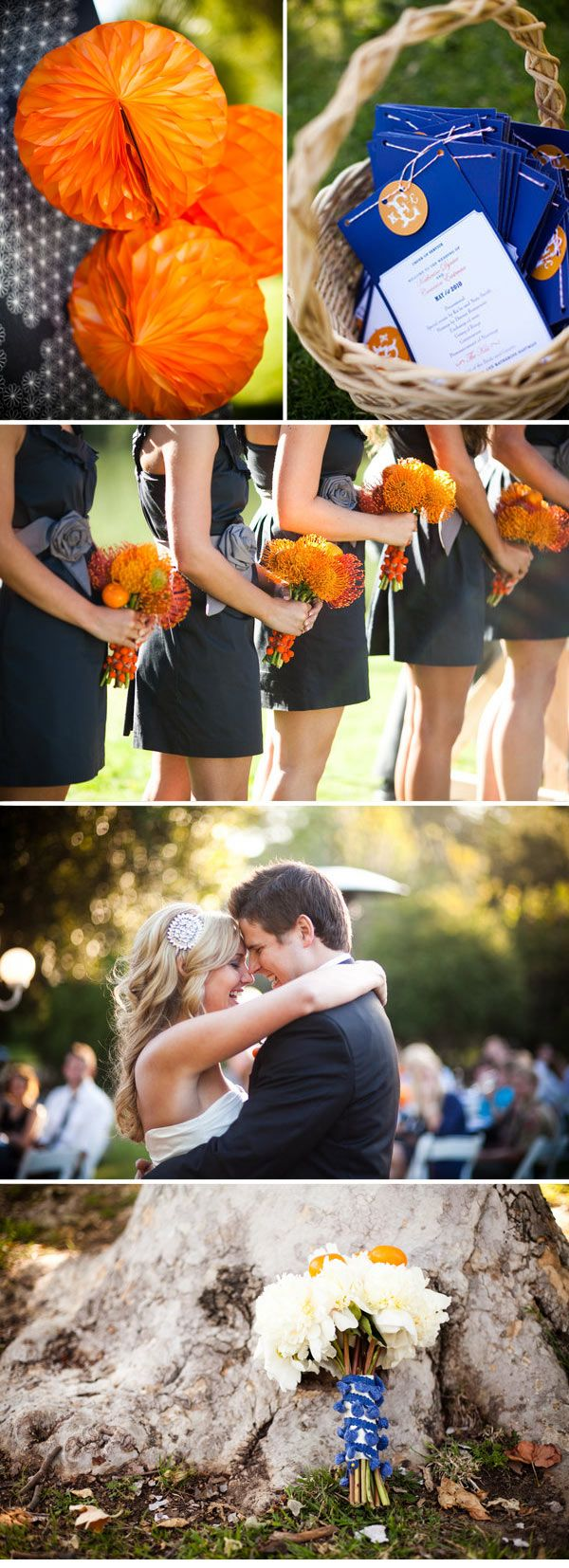 Navy BM dresses with charcoal sash and orange flowers. Love the literal oranges IN the bridal bouquet as well!