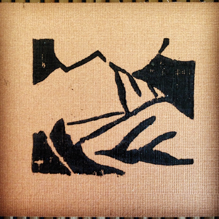 """2""""x2"""" woodcut mountainscape on balsa, by Thomas Walsh"""