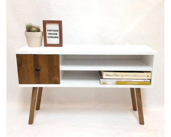 Mid-Century Scandinavian Console Table, Media Console, Media Center, Solid Wood…