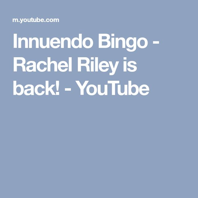Innuendo Bingo - Rachel Riley is back! - YouTube