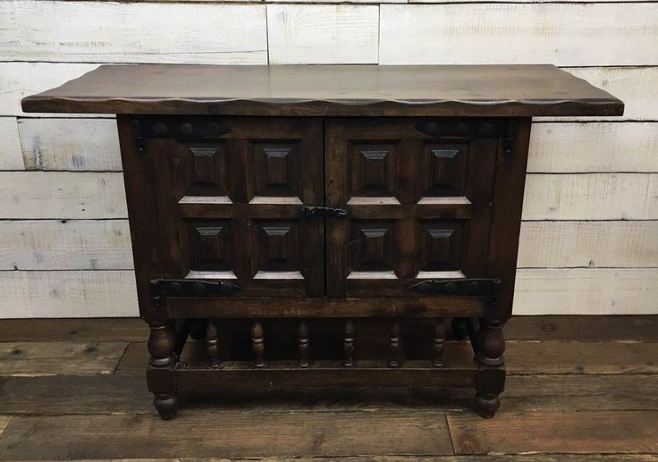 Antique Spanish Style Oak Sideboard Credenza Side Table