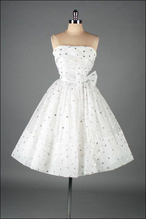 Vintage 1950s dress . white chiffon . silver polka dots . 3133