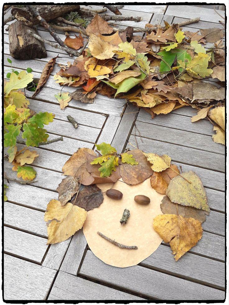 cr er des visages avec la nature bricolages d 39 automne. Black Bedroom Furniture Sets. Home Design Ideas