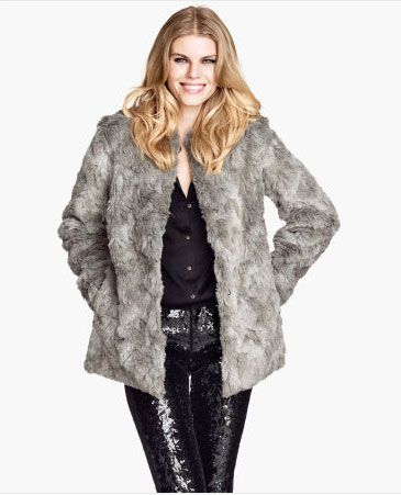 HM Grey Faux Fur Coat