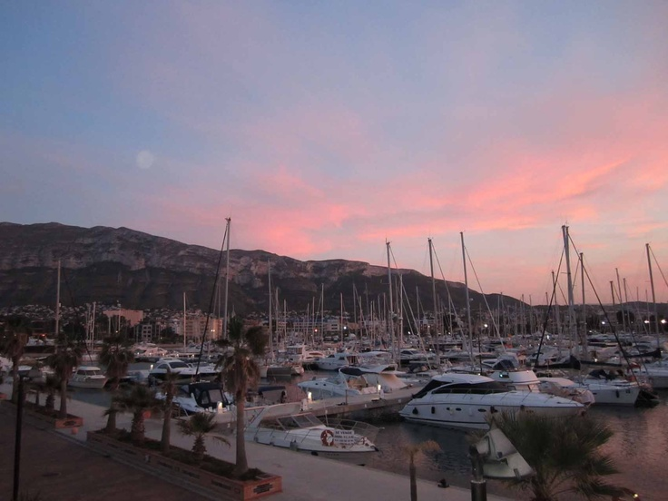 Denia marina at sunset .. beautiful.   An easy stroll from our yoga hotel.