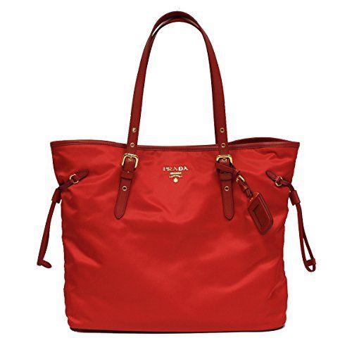 Prada Tessuto Saffian Shopping Tote Bag Large Rosso Red Shoulder Handbag Purse